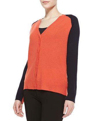 Colorblock Wool-Cashmere Cardigan, Fire/Navy