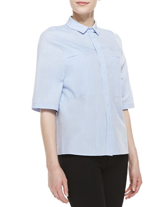 Half-Sleeve Poplin Shirt, Chambray