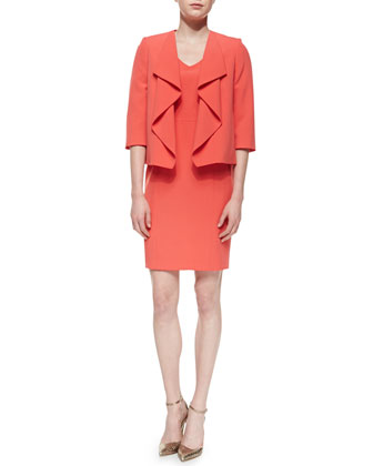 Ruffle-Front Jacket with Sheath Dress, Dark Coral