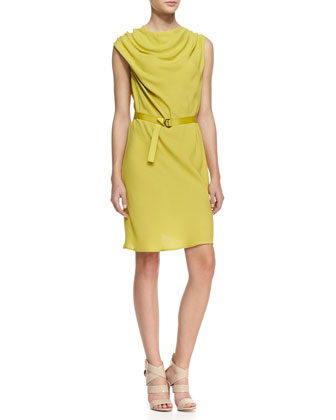 Sleeveless Cowl-Neck Crepe Dress, Chartreuse