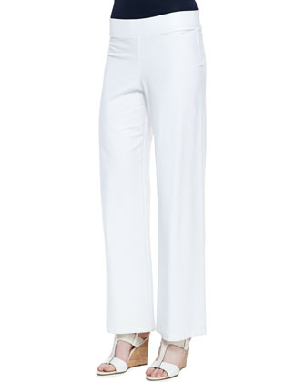 Washable-Crepe Boot-Cut Pants, White, Women's