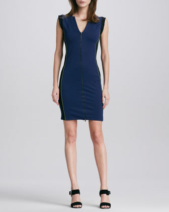 Colorblock Front-Zip Ponte Dress