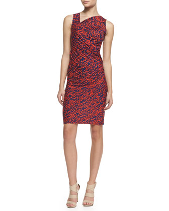 Printed Asymmetric-Neck Jersey Dress