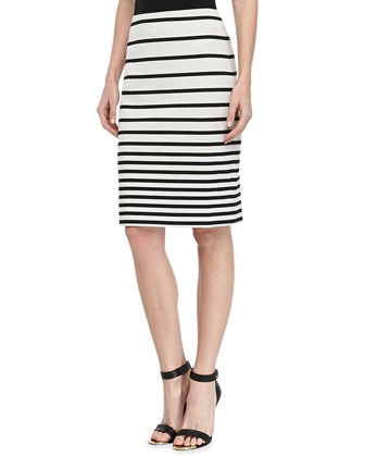 Striped Knit Pencil Skirt,