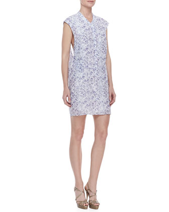 Printed Zip-Front Sleeveless Dress, Blue-White