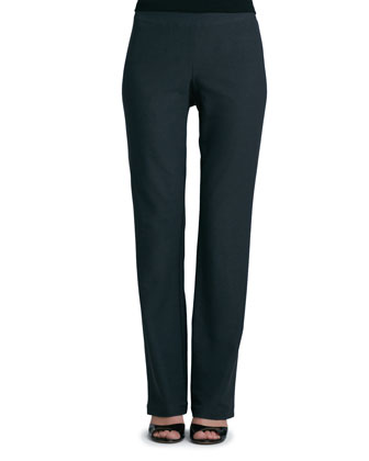 Washable-Crepe Boot-Cut Pants, Graphite