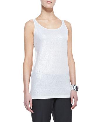Organic Linen Short-Sleeve Jacket, Jersey Shimmer Tank, Washable-Crepe ...