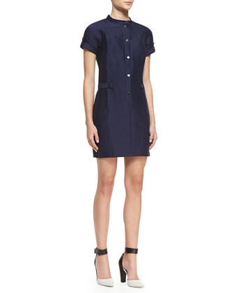 Short-Sleeve Snap-Front Dress, Midnight