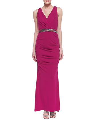 Sleeveless Ruched Hip Gown with Belt, Pink Berry