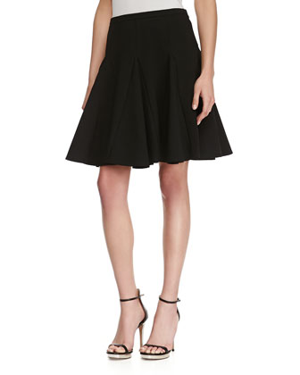 Circle Ponte Godet Skirt, Black