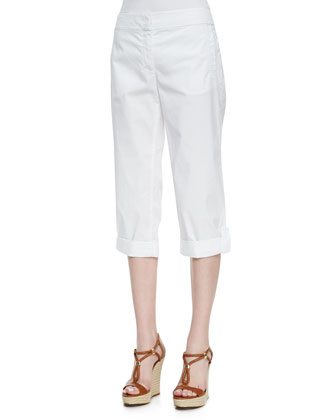 Handkerchief Linen V-Neck Shirt & Cuffed Twill Capri Pants, Petite