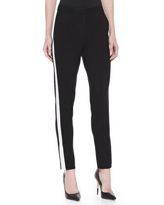 Tuxedo-Striped Skinny Pants