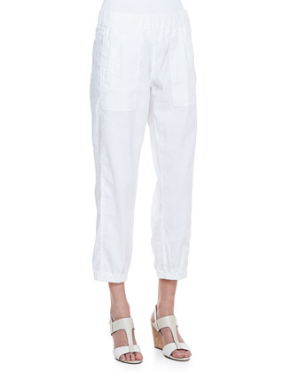 Cargo Linen-Blend Ankle Pants, White, Petite