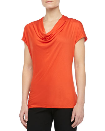 Short-Sleeve Draped Knit Top, Fire