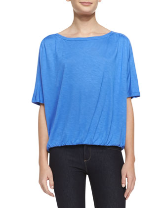 Short Sleeve Bubble Jersey Top, Sky Blue