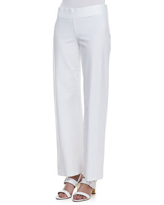 Stretch Crepe Modern Wide-Leg Pants, White