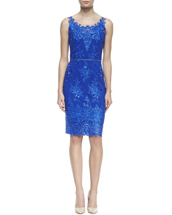 Embroidered Lace Cocktail Dress with Skinny Belt, Cobalt