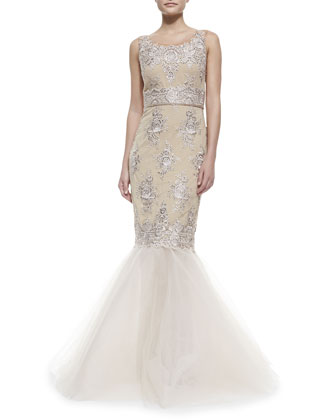 Sleeveless Embroidered Mermaid Gown, Rose Gold