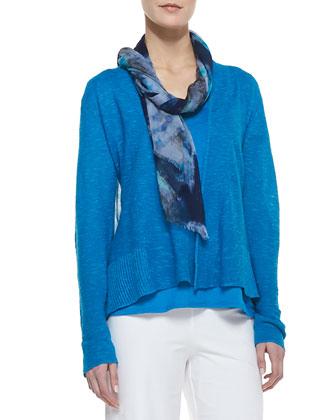 Organic Slub-Knit Cardigan, Lucky Organic-Linen Tee, Painted Crinkle Gauze ...