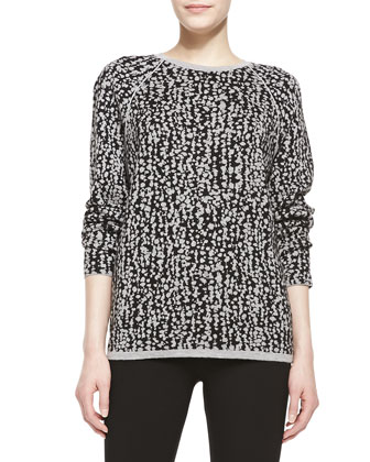 Long-Sleeve Jacquard Sweater, Black/Gray