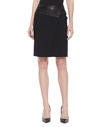 Leather-Waist Pencil Skirt