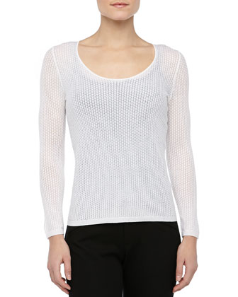 Knit Long-Sleeve Scoop-Neck Sweater, Ivory