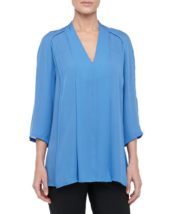 3/4-Sleeve Silk V-Neck Blouse, Sky Blue