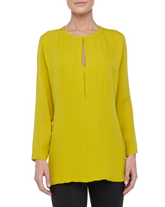 Slit-Front Silk Tunic, Chartreuse
