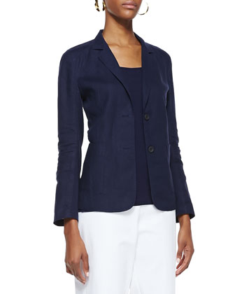 Handkerchief Linen 2-Button Jacket, Midnight, Petite