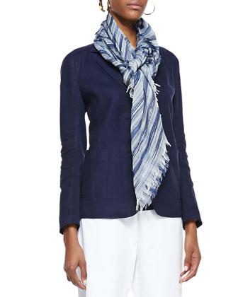 Handkerchief Linen 2-Button Jacket, Organic-Cotton Long Slim Tank, Twill ...