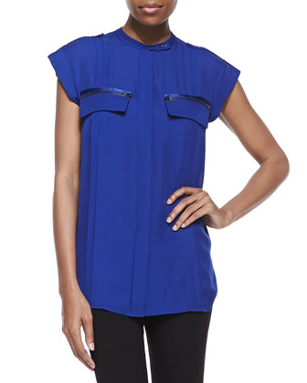 Silk Button-Front Top, Indigo