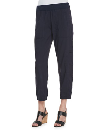 Cargo Linen-Blend Ankle Pants, Midnight, Petite
