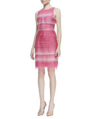 Sleeveless Multi-Tiered Ombré Cocktail Dress, Pink