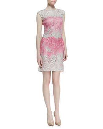 Cap-Sleeve Ombre Floral Dress, Pink/White