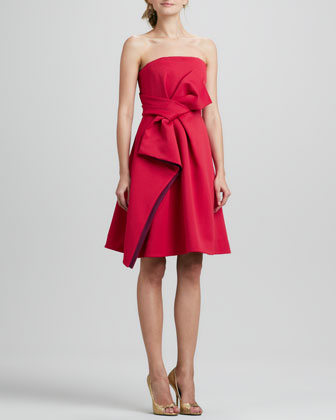 Strapless Colorblock Bow Dress