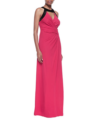 Cutout Wrap-Front Gown, Ruby/Black