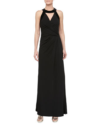Cutout Wrap-Front Gown, Black
