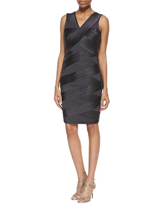 Crisscross Bandage Ponte Dress, Charcoal