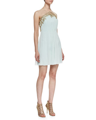 Feather & Chiffon Grecian Cocktail Dress