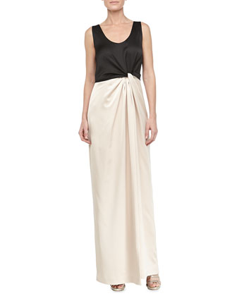 Satin Combo Twist-Front Gown, Black/Champagne