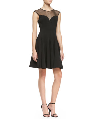Cap-Sleeve Ponte Illusion Godet Dress, Black