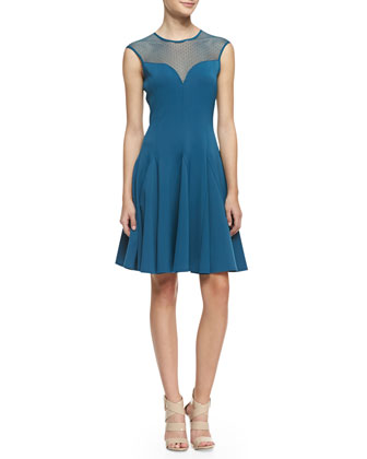 Cap-Sleeve Ponte Illusion Godet Dress, Dark Cadmium