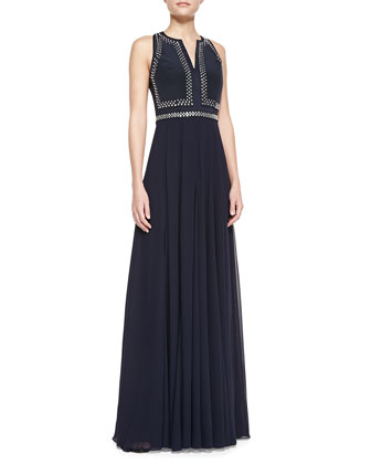 Sleeveless Split-Neck Beaded-Bodice Gown, Navy