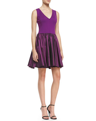 Sleeveless Fit-&-Flare Combo Dress, Amethyst
