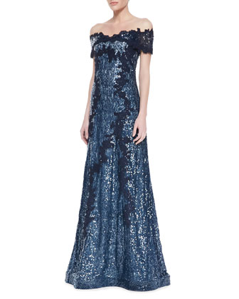 Off-Shoulder Metallic Lace Gown, Navy/White