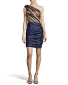 Ruched One-Shoulder Two-Tone Dress, Bronze/Midnight