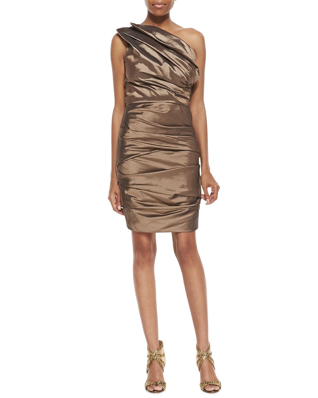 Womens Ruched One Shoulder Dress, Bronze   Halston Heritage