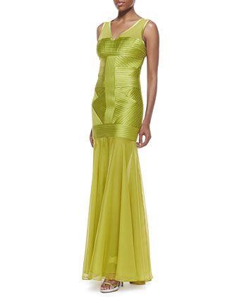 Sleeveless Bias-Striped Gown, Apple Green