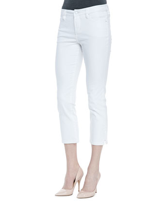 Joan Long Denim Cropped Pants, White