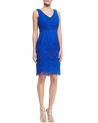 Sleeveless Embroidered Scallop Bottom Cocktail Dress, Cobalt